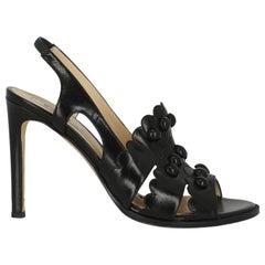 Moschino Women Sandals Black Leather EU 37.5