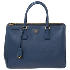 Prada Navy Blue Saffiano Lux Leather Large Double Zip Tote
