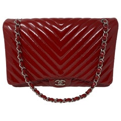 Chanel Red Maxi Chevron Patent Leather Bag