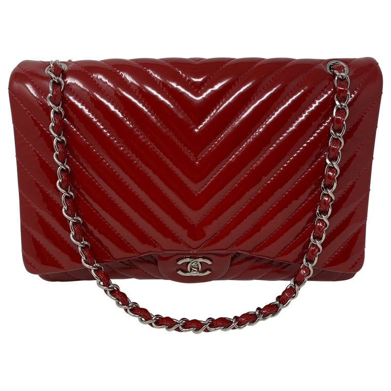 Chanel Red Maxi Chevron Patent Leather Bag For Sale
