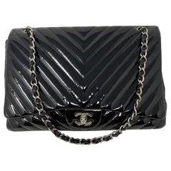 Chanel Black Jumbo Patent Leather Bag