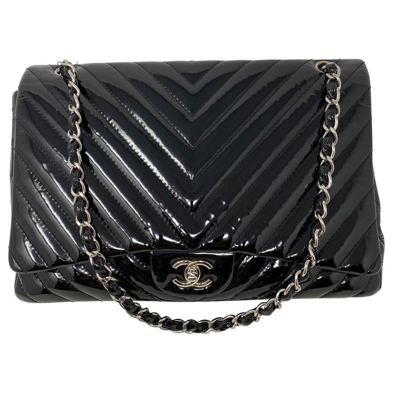 Chanel Black Jumbo Patent Leather Bag For Sale
