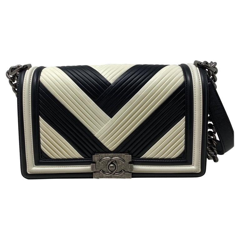Chanel Black and White Chevron Boy Bag For Sale
