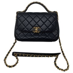 Chanel Top Handle Black Chain Bag