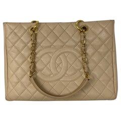 Chanel Cream Grand Shopper Tote Bag