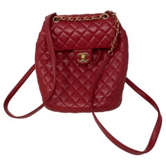 Chanel Red Leather Backpack