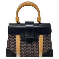 Goyard Black Saigon MM Wood Bag