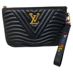 Louis Vuitton Black Leather Wave Pouch