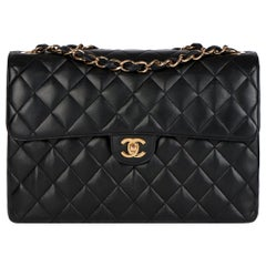 Chanel Black Quilted Lambskin Leather Vintage Jumbo Classic Single Flap Bag