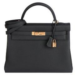 Hermès Black Togo Leather Kelly 32cm Retourne