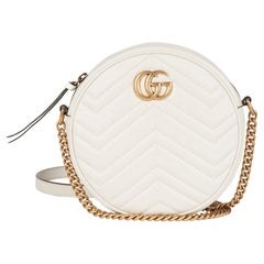 Gucci Ivory Chevron Quilted Shiny Calfskin Leather Mini Round Marmont