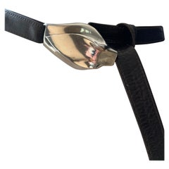Elsa Peretti for Halston pre Tiffany Snake Head Buckle and Brown Leather Strap