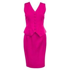 1990s Moschino Couture! Fuchsia Vest & Skirt Ensemble