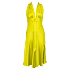 1990s Chartreuse Silk Cocktail Dress