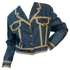 Moschino Jeans Vintage Denim Jacket with Trompe l'oeil Gold Trim Lapels