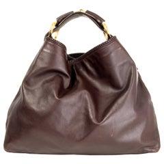 GUCCI dark brown leather HORSEBIT LARGE HOBO Shoulder Bag
