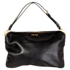MIU MIU black Soft Calf leather CLOUD HOBO Shoulder Bag