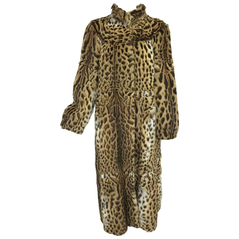 1970s full length spotted fur coat Yorn Boutique  For Sale