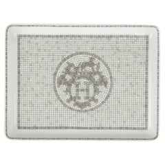 Hermes Mosaique au 24 Platinum Plate / Tray Set of 6 Small Model