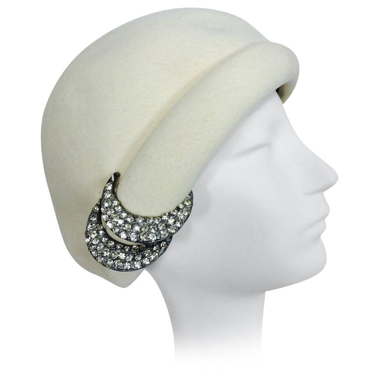 1960s Halston cream felt cocktail hat with rhinestone trim