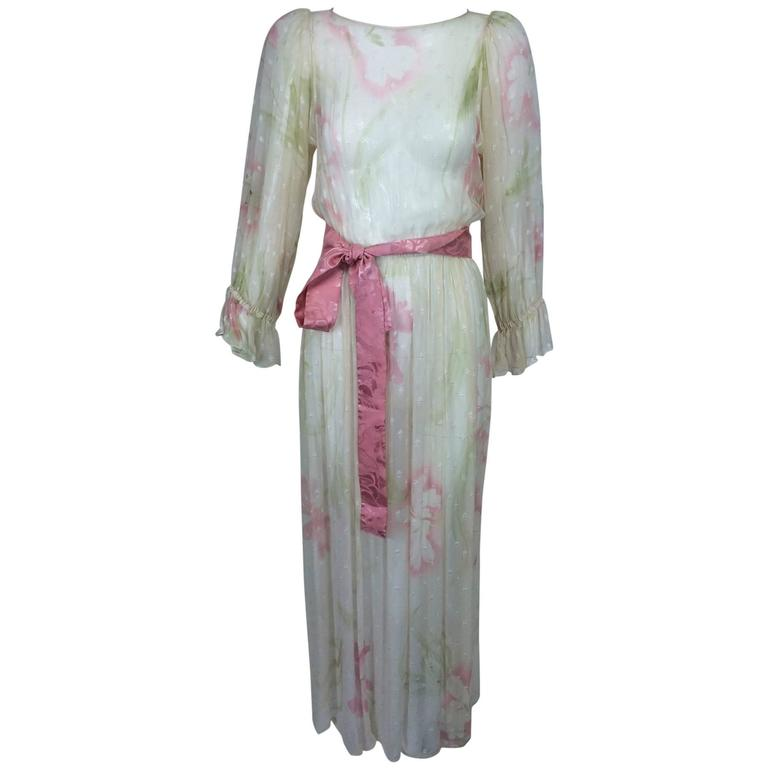Vintage Hollys Harp off white sheer silk chiffon floral print dress 1960s