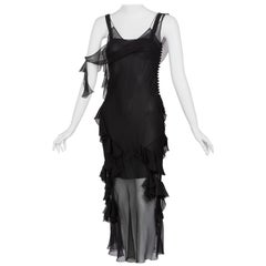 Christian Dior by Galliano Black Sheer Silk Sleeveless Dress