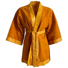 Bonnie Cashin for Sills Jacket Pumpkin Suede Leather Kimono Style Rare S/M