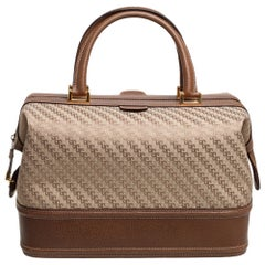Gucci Beige/Brown Fabric and Leather Vintage Doctor Bag