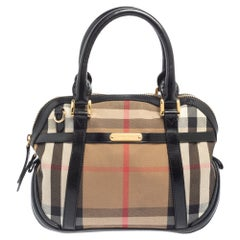 Burberry Black/Beige House Check Fabric and Leather Orchard Bowling Bag
