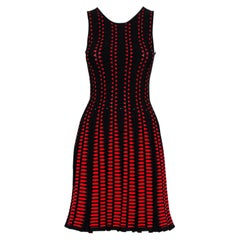 Alexander McQueen Red Patterned Knit Flared Sleeveless Dress S