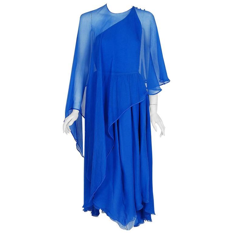 1970's Oscar de la Renta Royal-Blue Crepe Chiffon Asymmetric Goddess Dress Gown