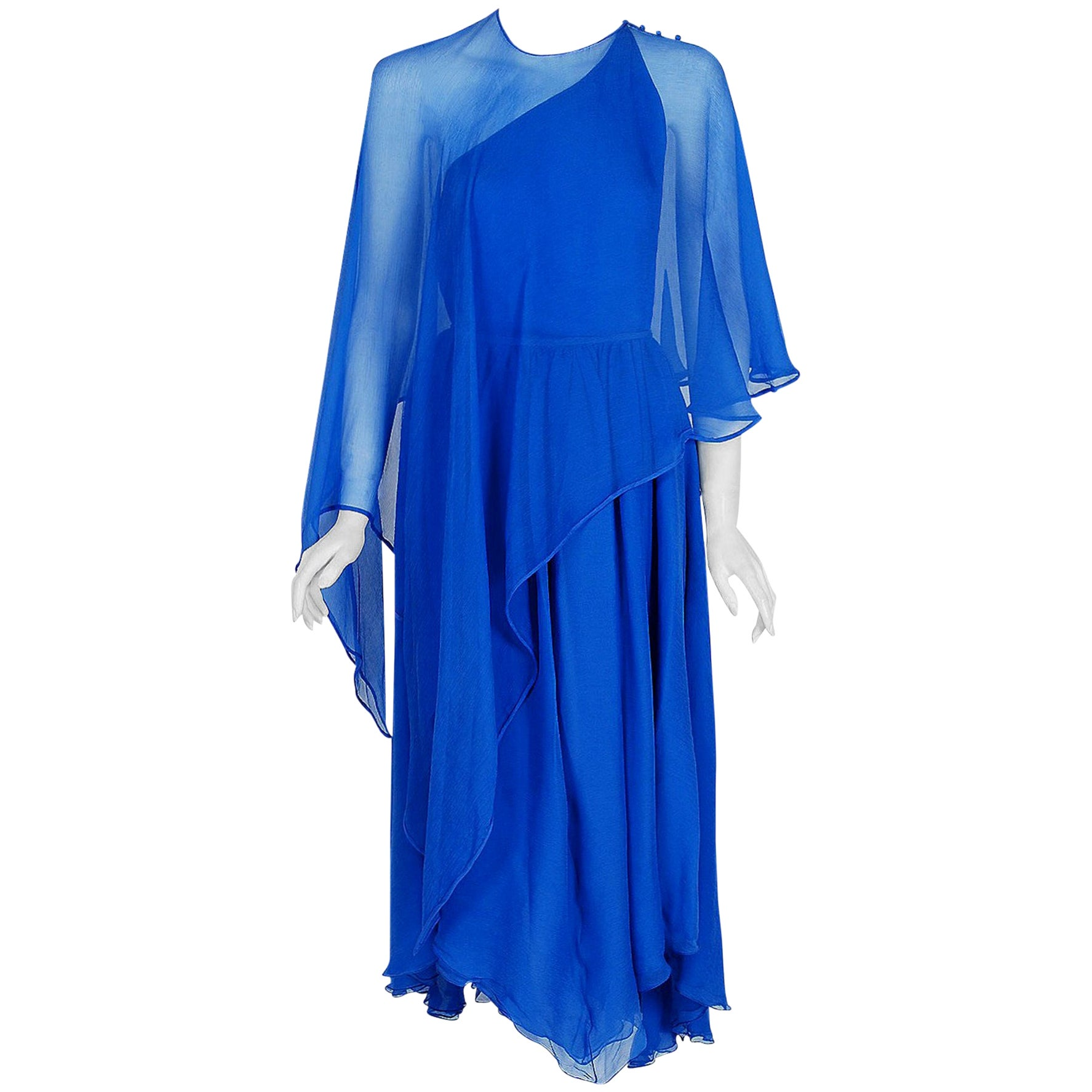 Vintage 1977 Oscar de la Renta Royal-Blue Silk Asymmetric Caftan Blouse & Skirt