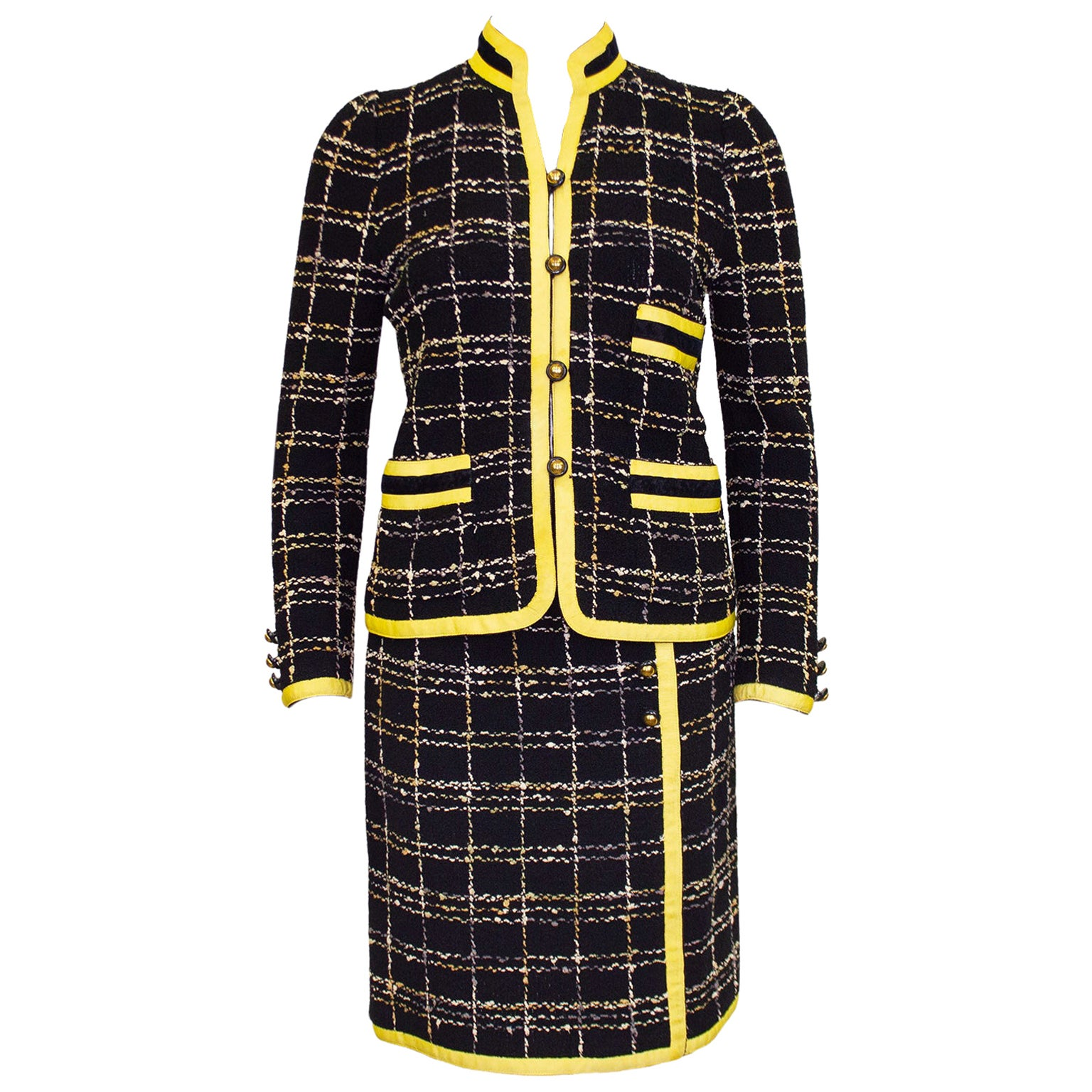 1980s Adolfo Black Wool Knit Plaid Skirt Suit with Yellow Trim