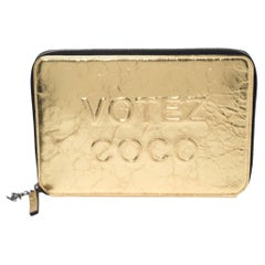 Chanel Metallic Gold Mirror Leather Votez CC Clutch