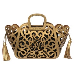 Ralph Lauren Gold Leather Vachetta Scroll Tote