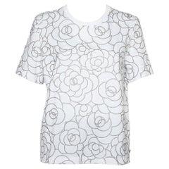 Chanel White Metallic Camellia Printed Cotton Crewneck T-Shirt L