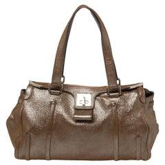 Celine Brown Glitter Leather Front Flap Satchel