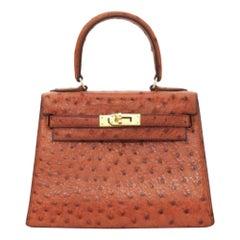 Hermès, Kelly in brown ostrich