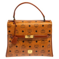 MCM Cognac Visetos Coated Canvas and Leather Heritage Top Handle Bag