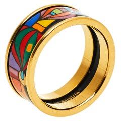 Frey Wille Hommage à Hundertwasser Multicolor Fire Enamel Band Ring Size 50.5