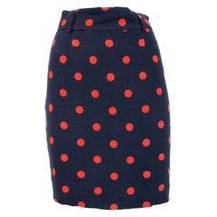 Moschino Blue Red Polka Dot Short Skirt