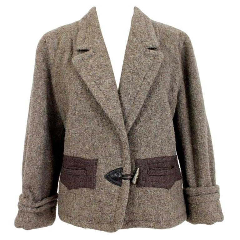 Byblos Brown Beige Wool Short Casual Coat For Sale