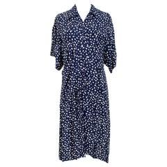 Luisa Spagnoli Blue White Silk Floral Soft Long Dress