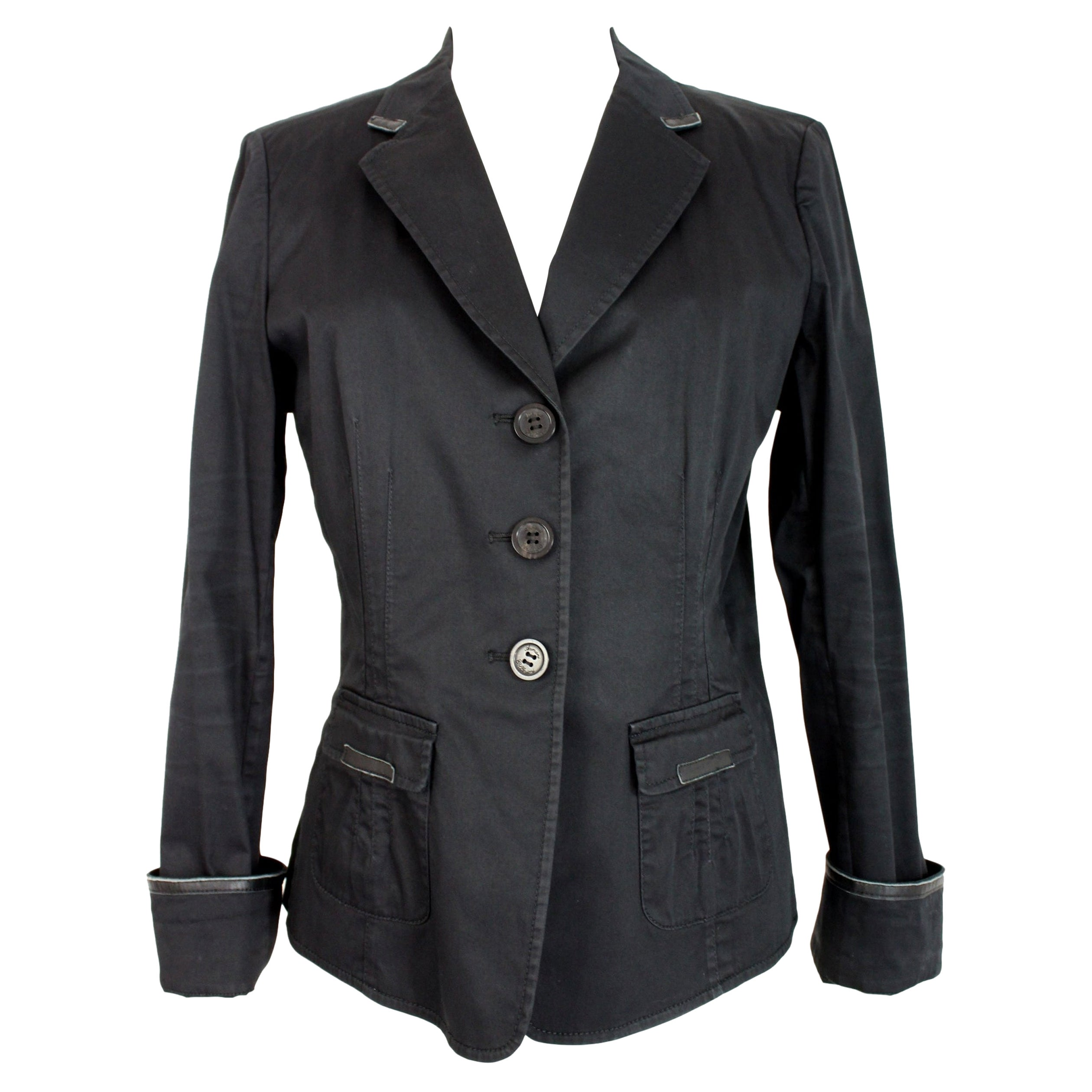 Armani Collezioni Black Cotton Flared Jacket