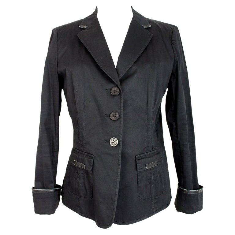Armani Collezioni Black Cotton Flared Jacket For Sale