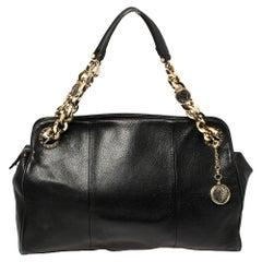 Bvlgari Black Leather Monete Chain Satchel