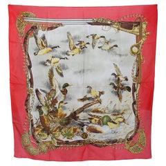 Luciano Soprani Pink Beige Silk Birds Floral Emblema Scarf