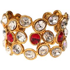 Early 1990s Chanel Cuff with Gilt Metal and White and Red Crystals