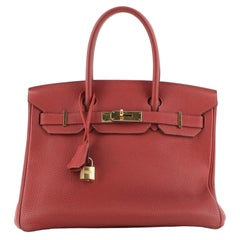 Hermes Birkin Handbag Rouge Garance Togo with Gold Hardware 30