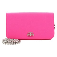 Balenciaga BB Phone Holder Chain Wallet Leather